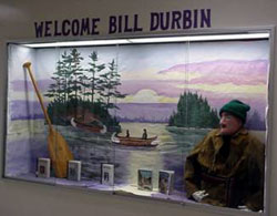 A diorama welcoming Bill to a school